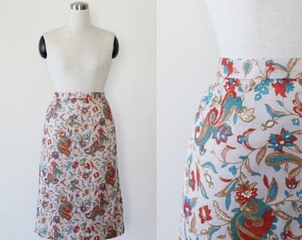 on SALE. 1960's Paisley Print Mod Skirt M, High Waist Skirt Medium, Paisley Skirt