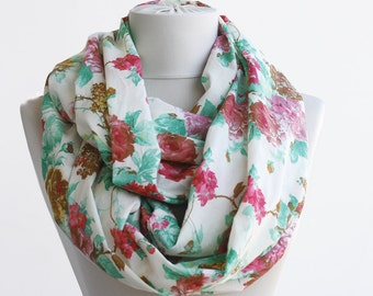 Roses summer scarf cotton infinity scarf floral loop scarf women scarves spring accessories circle scarf mothers day gift ideas for her