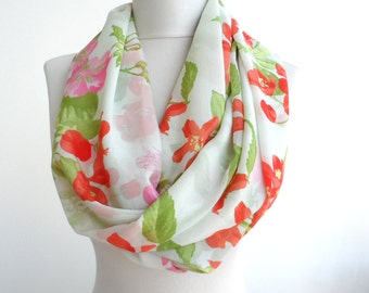 Red flower print scarf spring infinity scarf floral scarf summer scarves women scarfs mothers day gifts for her white loop scarf / AZRA /