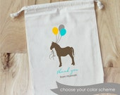 PONY and BALLOON- Personalized Favor Bags - Set of 10 - HORSE -Birthday - Baby Shower
