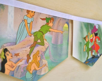 PETER PAN Banner Vintage Little Golden Book Bunting Paper storybook Children Repurposed story book Decoration eco friendly re purposed gift