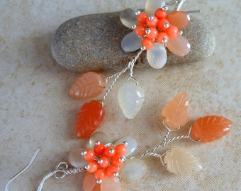 Multi Moonstone Wire Wrapped Flower Earrings with Coral in Sterling Silver
