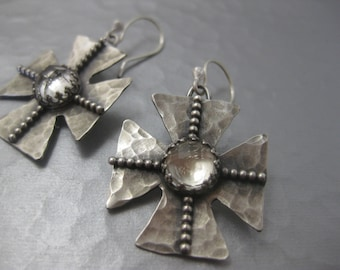 Rocker Cross Sterling Silver biker crystal quartz earrings