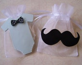 Mustache and Bowtie baby shower Favor Bags 10 pieces