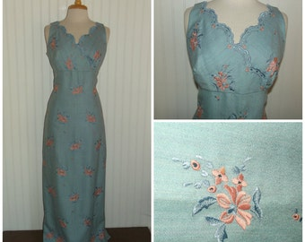 1950s Sleeveless Gown, Scalloped Neckline, Faux Wrap, Embroidered, Pale Blue and Pink, Size Small, #45483