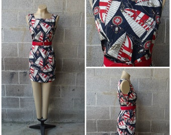 1980s Sleeveless Knee Length Dress, Nautical, Size Small,  #45678