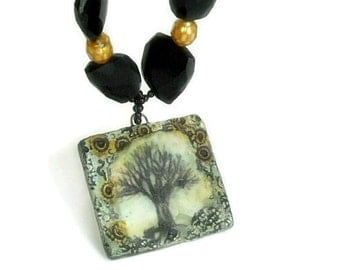 Handmade Tree of Life Pendant Necklace - Tree Jewelry - Onyx Faceted Bronze Pearls Peruvian Opal Beaded Jewelry
