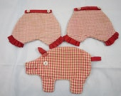Vintage 3 Figural Hot Pads Red Gingham Pig  2 Bloomer Pants Red Trim Buttons  1940's Kitchen Kitsch Hot Pads Collectible Pot Holders C