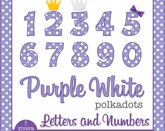 Purple White Polka Dots Letters and Numbers Clip Art  with additional Bow, and Crowns