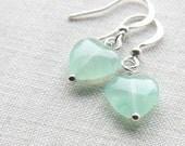 Mint to be, Mint Heart Earrings, Glass Earrings, Mint Green Glass Heart, Small Cute Earrings, Mint Bridesmaid Gift, Mint Wedding Earrings