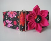 Hot Pink Martingale Collar and Matching Flower, 2 Inch Martingale Collar, Hot Pink Dog Collar, Greyhound Collar, Paisley Dog Collar