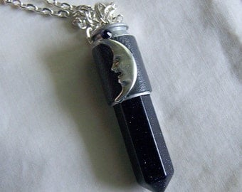 Celestial Blue Night Stars Silver Moon Bullet Jewelry Pendant