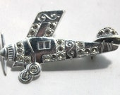 Vintage 1950's Rhodium Plated Airplane Brooch // Come Fly With Me