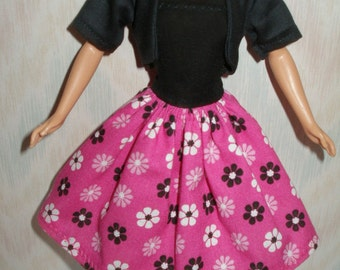 "Handmade 11.5"" fashion doll clothes - strapless black and pink floral dress with black jacket"