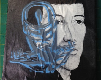 "ROBOCOP -- collage, stencil, spray paint (Original Painting #2) -- 8"" x 10"""