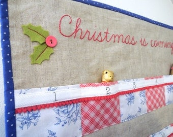 Christmas quilted advent calendar - Linen with 24 pockets in Blue, white & pink. Ready To Ship!