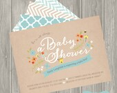 Baby Boy, Baby Shower, Invitation, Baby Girl, Birth Announcement, Personalized, Vintage Floral, Woodland, Bee