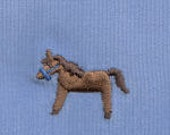 Fabric Finders 100 Percent Cotton Pinwale Corduroy Blue with Embroidered Horses 1 Yard