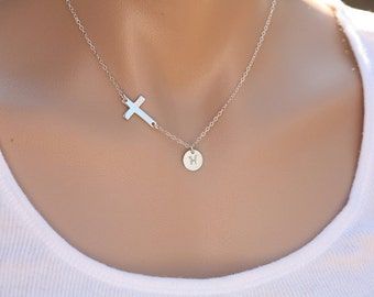 Sterling silver sideways cross necklace,hand stamped monogram necklace,initial necklace,custom font,Blessed Necklace,faith,blessed necklace