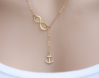 Gold Infinity Anchor Lariat Y necklace,Strength,Navy anchor,Infinity necklace,Figure eight charm.graduation gift
