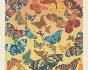 Butterflies silkscreen Poster