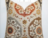 Decorative Pillow Cover - Suzani - Orange Rust - Golden Brown - Gray - Charcoal