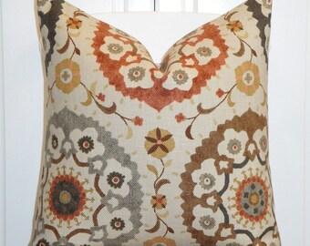 Decorative Pillow Cover - Suzani - Orange Rust - Golden Brown - Gray - Charcoal