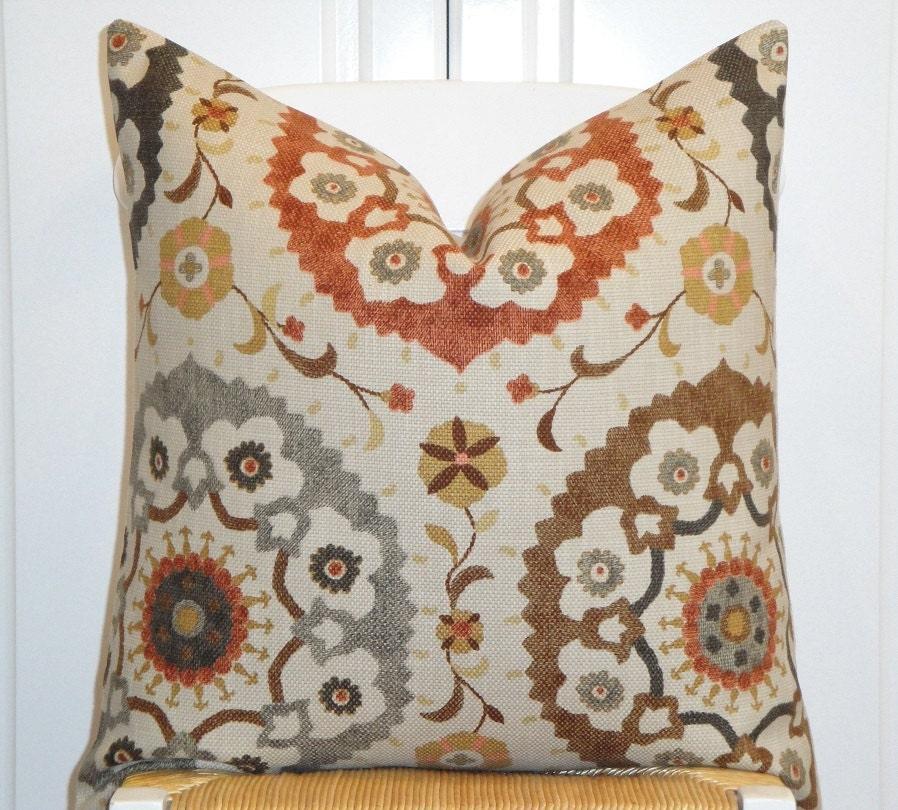 Decorative Pillow Cover Suzani Orange Rust Golden Brown