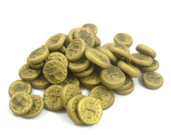 Gold miniature coins set board game Polymer Clay
