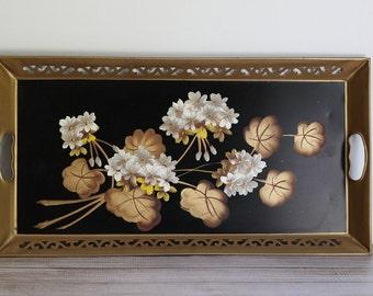 Vintage Pilgrim Art Tole Painted Tray Rectangular Black Gold White Geraniums
