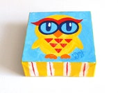 The Daily Hoot, Tiny Owl Art, - 8.15.14 - 4x4 acrylic Mini Painting