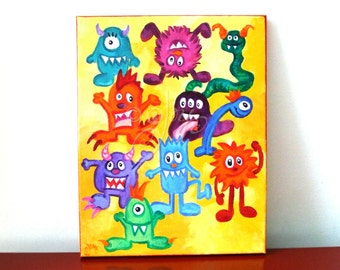 Fun Kids Room Art, MONSTER MASH, 11x14 acrylic canvas, little monster wall art for nursery decor