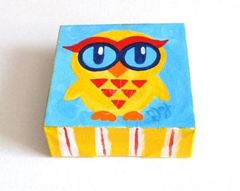 The Daily Hoot, Tiny Owl Art, - 8.15.14 - 4x4 acrylic Mini Painting