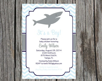 Printed shark Baby Shower Invitation, baby boy, nautical shower invitation, vintage, baby boy