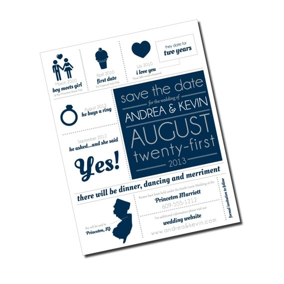 Timeline Save The Date Infographic Magnets And Kraft Paper