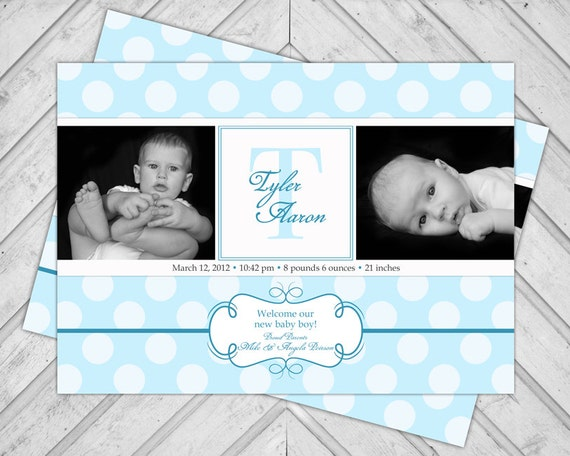 baby blue baby announcement for boys - photo birth announcement cards printable - polkadots - monogram - 2 photos - DIY or printed (112)