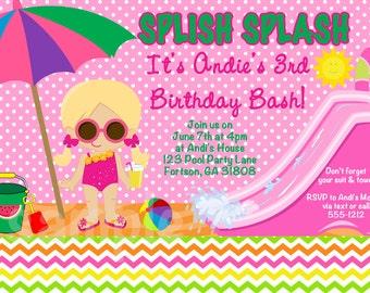 Pool Party Invitations - Chevron Water Slide Birthday Invitation