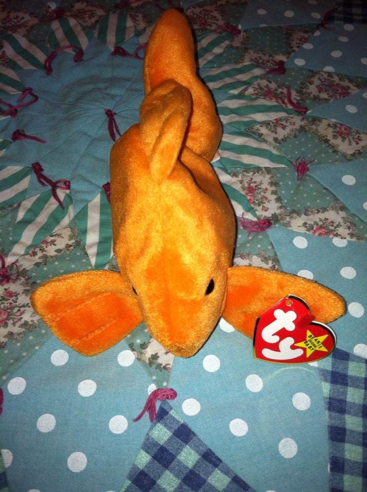 Vintage 1993 ty beanie baby goldie the gold fish style 4023 for Fish beanie baby