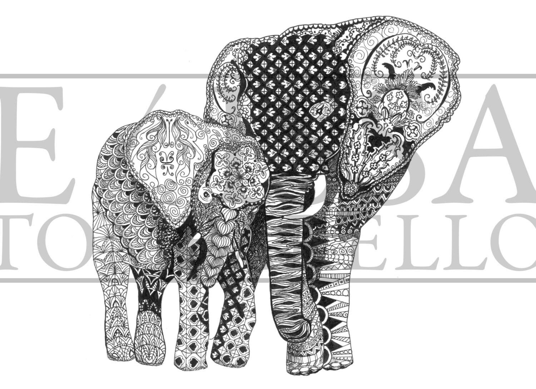 Elephant Art Print Zentangle Animal Art