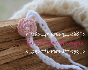 pink headband, tiny newborn headband, baby headband, dainty headband, petite flower headband
