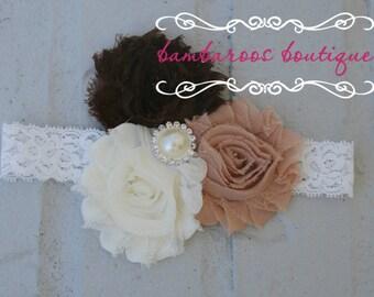 shabby chic baby headband, brown headband, ivory headband, baby headband, vintage headband