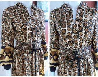 70s OSCAR de La RENTA BOUTIQUE--Printed Silk Dress--Laced Belt--Dramatic Sleeves--Boho
