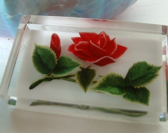Vintage Lucite Undercarved Handpainted Pin Brooch RED ROSE with Leave & Stem High Detail