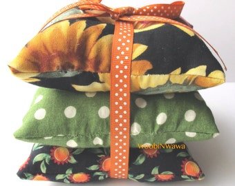 Cotton Sachets- Lavender Scented- Set of 3- Black Sunflower/Green Polkadot/Orange Sunflowers