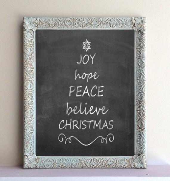 Blue Christmas Decor Chalkboard Gift Wall Decor Kitchen
