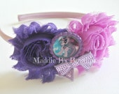 New Pony Headband-Purple shabby flower-sequin bow-headband-My Little Pony-Twilight Sparkle-made by Maddie Bs Boutique on Etsy