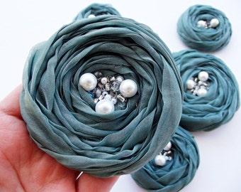 Sage Green Roses Handmade Appliques Embellishment 5 pcs