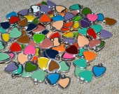24pcs Heart Charms Silver Plated Colored Epoxy 7mm Enameled Mixed Colors