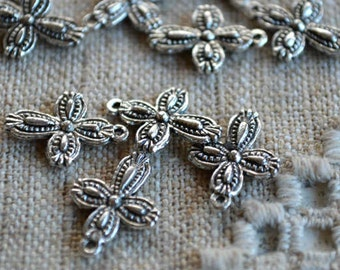 10 Cross Charms Drops 16x13mm Antiqued Silver Pewter Crosses Religious Drops