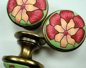 6 Unique Flower Cabinet Knobs/Pulls  Set of Six     Rose Salmon on Green Polymer Clay/Metal